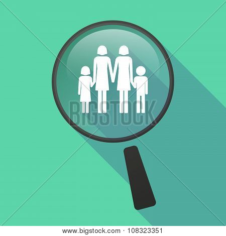 Long Shadow Magnifier Vector Icon With A Lesbian Parents Family Pictogram