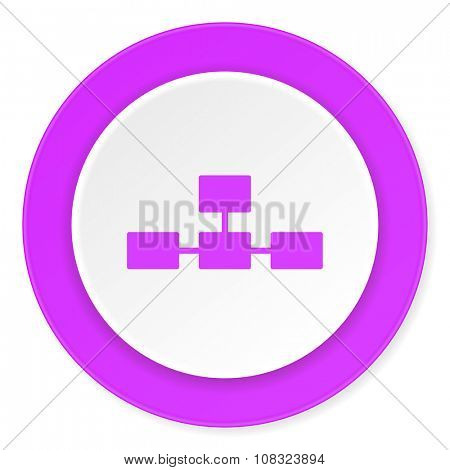 database violet pink circle 3d modern flat design icon on white background