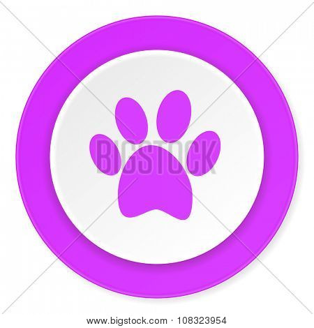 foot violet pink circle 3d modern flat design icon on white background