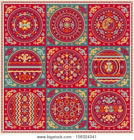 Patchwork pattern. Ethnic geometric print. Vector
