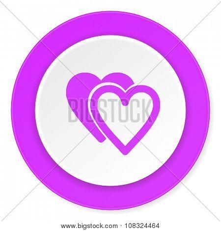 love violet pink circle 3d modern flat design icon on white background
