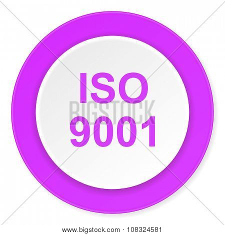 iso 9001 violet pink circle 3d modern flat design icon on white background