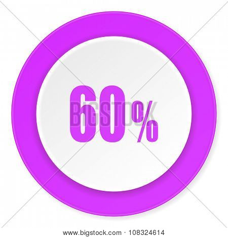 60 percent violet pink circle 3d modern flat design icon on white background