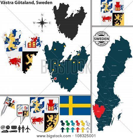 Map Of Vastra Gotaland, Sweden
