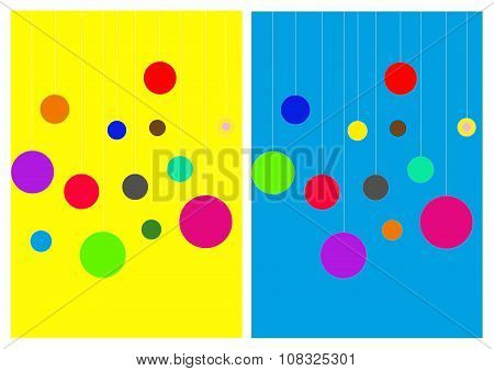 bright bicolor background with balls