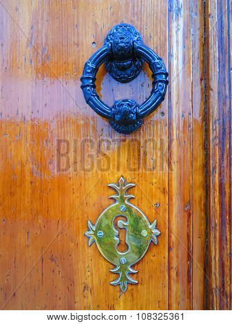Door Knocker And Fake Keyhole