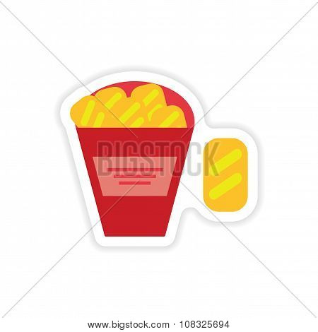 stylish paper sticker on a white background snack crackers