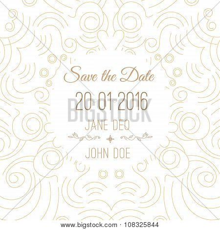 Vector save the date card template - wedding invitation in trendy linear style.