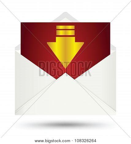 White Envelope Gold Arrow Symbol