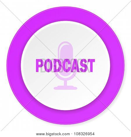 podcast violet pink circle 3d modern flat design icon on white background