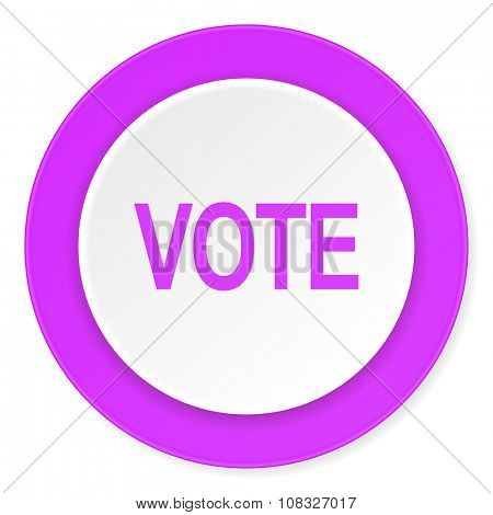 vote violet pink circle 3d modern flat design icon on white background