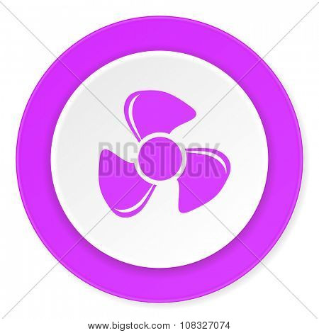 fan violet pink circle 3d modern flat design icon on white background