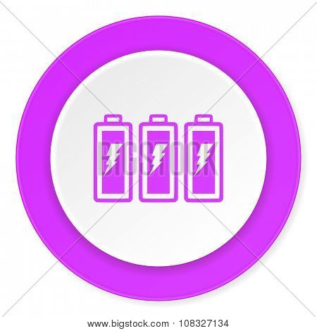 battery violet pink circle 3d modern flat design icon on white background