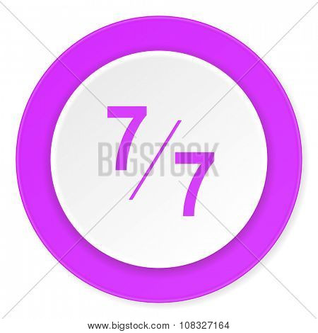 7 per 7 violet pink circle 3d modern flat design icon on white background