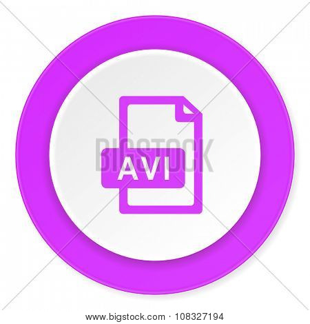 avi file violet pink circle 3d modern flat design icon on white background
