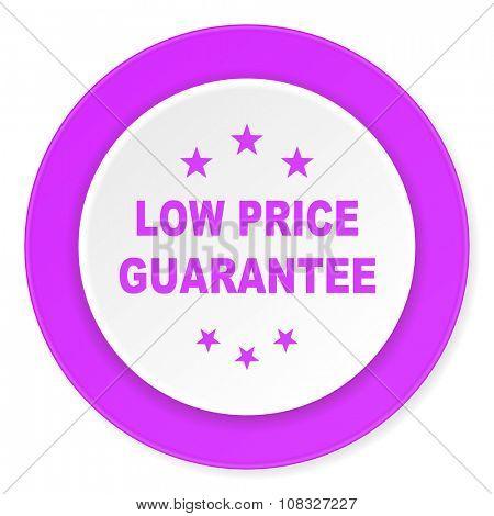 low price guarantee violet pink circle 3d modern flat design icon on white background