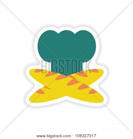 stylish paper sticker on white background chef hat baguettes