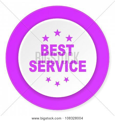 best service violet pink circle 3d modern flat design icon on white background