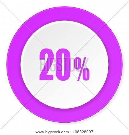 20 percent violet pink circle 3d modern flat design icon on white background