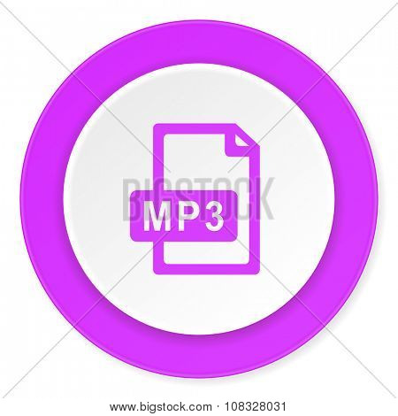 mp3 file violet pink circle 3d modern flat design icon on white background