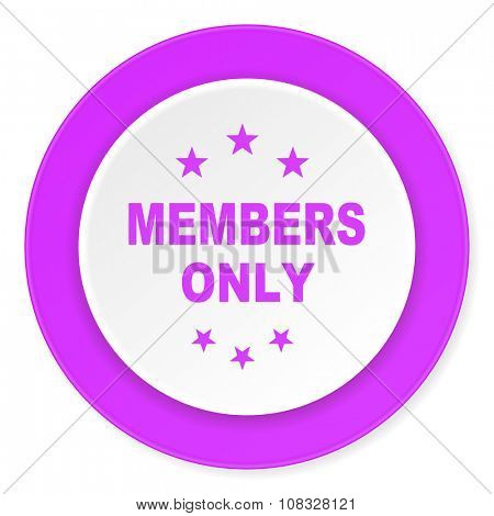 members only violet pink circle 3d modern flat design icon on white background