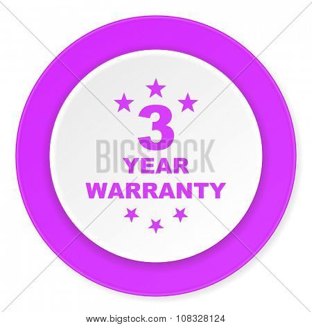 warranty guarantee 3 year violet pink circle 3d modern flat design icon on white background