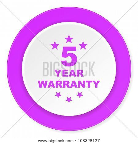 warranty guarantee 5 year violet pink circle 3d modern flat design icon on white background