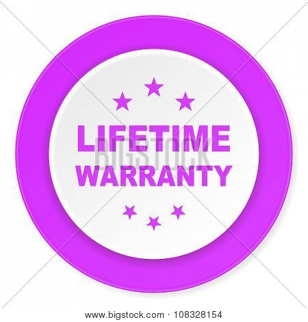lifetime warranty violet pink circle 3d modern flat design icon on white background