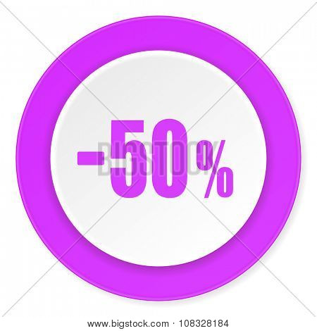 50 percent sale retail violet pink circle 3d modern flat design icon on white background