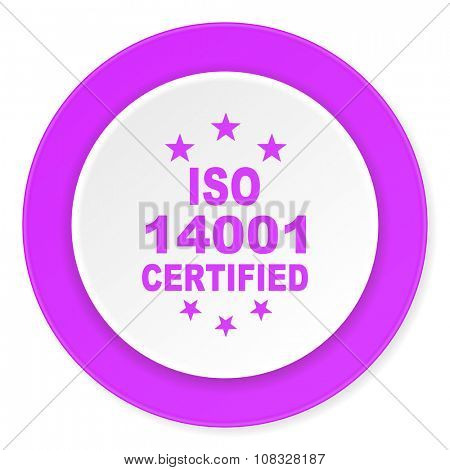 iso 14001 violet pink circle 3d modern flat design icon on white background