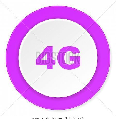 4g violet pink circle 3d modern flat design icon on white background