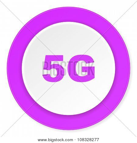 5g violet pink circle 3d modern flat design icon on white background