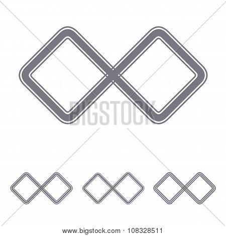Grey infinite loop logo design set