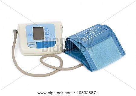 Apparatus for measuring blood pressure isolated on white background
