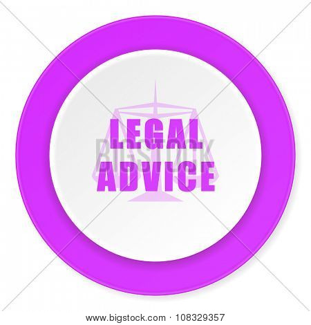 legal advice violet pink circle 3d modern flat design icon on white background