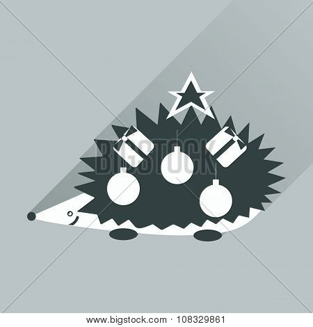 flat icon with long shadow hedgehog gifts Christmas