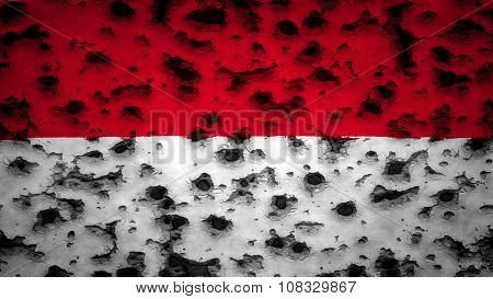Flag of Monaco, Monacan flag painted on wall with bullet holes