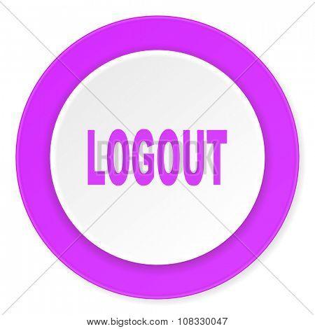 logout violet pink circle 3d modern flat design icon on white background
