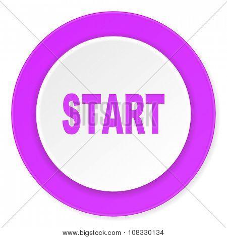 start violet pink circle 3d modern flat design icon on white background
