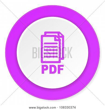 pdf violet pink circle 3d modern flat design icon on white background ,