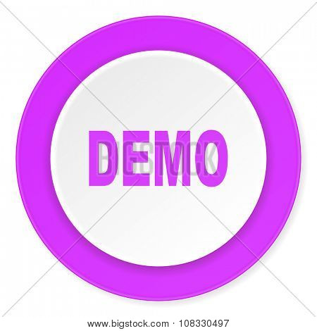 demo violet pink circle 3d modern flat design icon on white background
