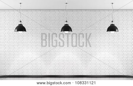 White Brick Wall And Three Black Ceiling Lamp. 3D.