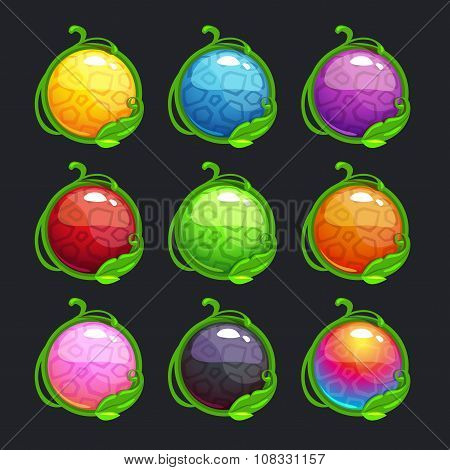 Funny cartoon colorful round buttons
