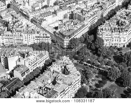 Aerial view of Paris streets from the Eiffel tower