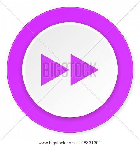 rewind violet pink circle 3d modern flat design icon on white background