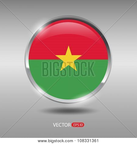 Shiny, glossy vector badge with Burkina Faso flag
