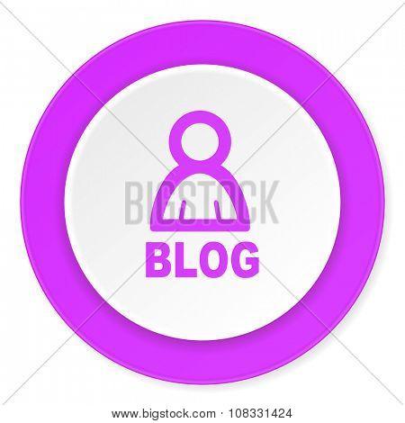 blog violet pink circle 3d modern flat design icon on white background