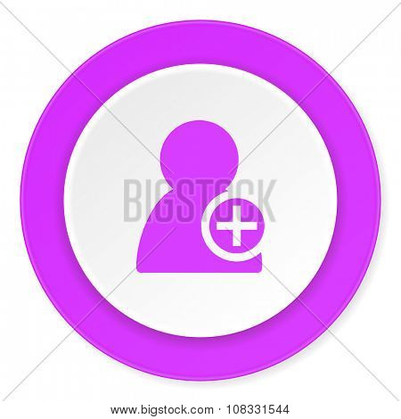 add contact violet pink circle 3d modern flat design icon on white background