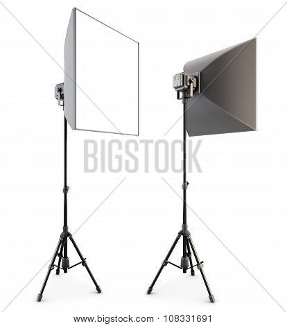 Studio Lighting Isolated On The White Background. Soft Box. 3D.