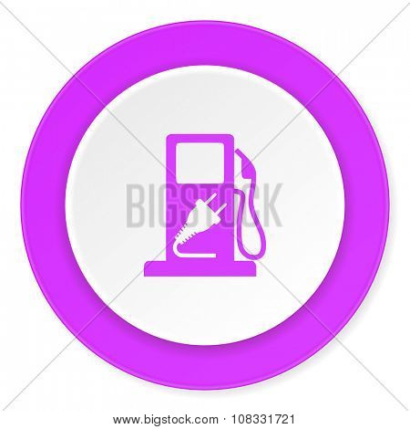 fuel violet pink circle 3d modern flat design icon on white background